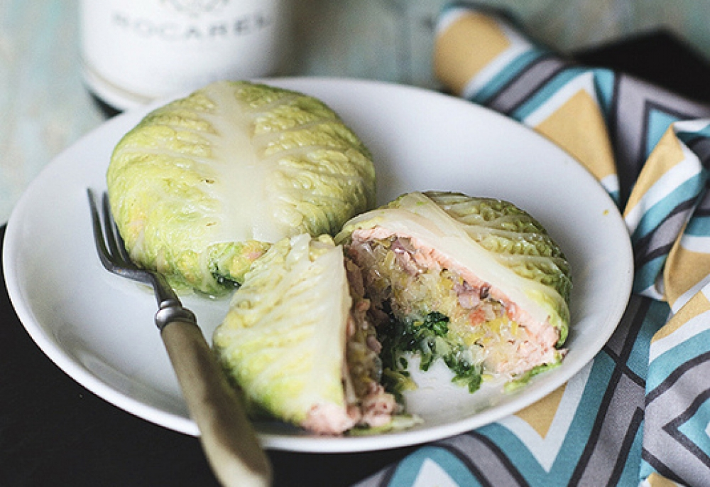 Bags From Savoy Cabbage With Salmon Recipe