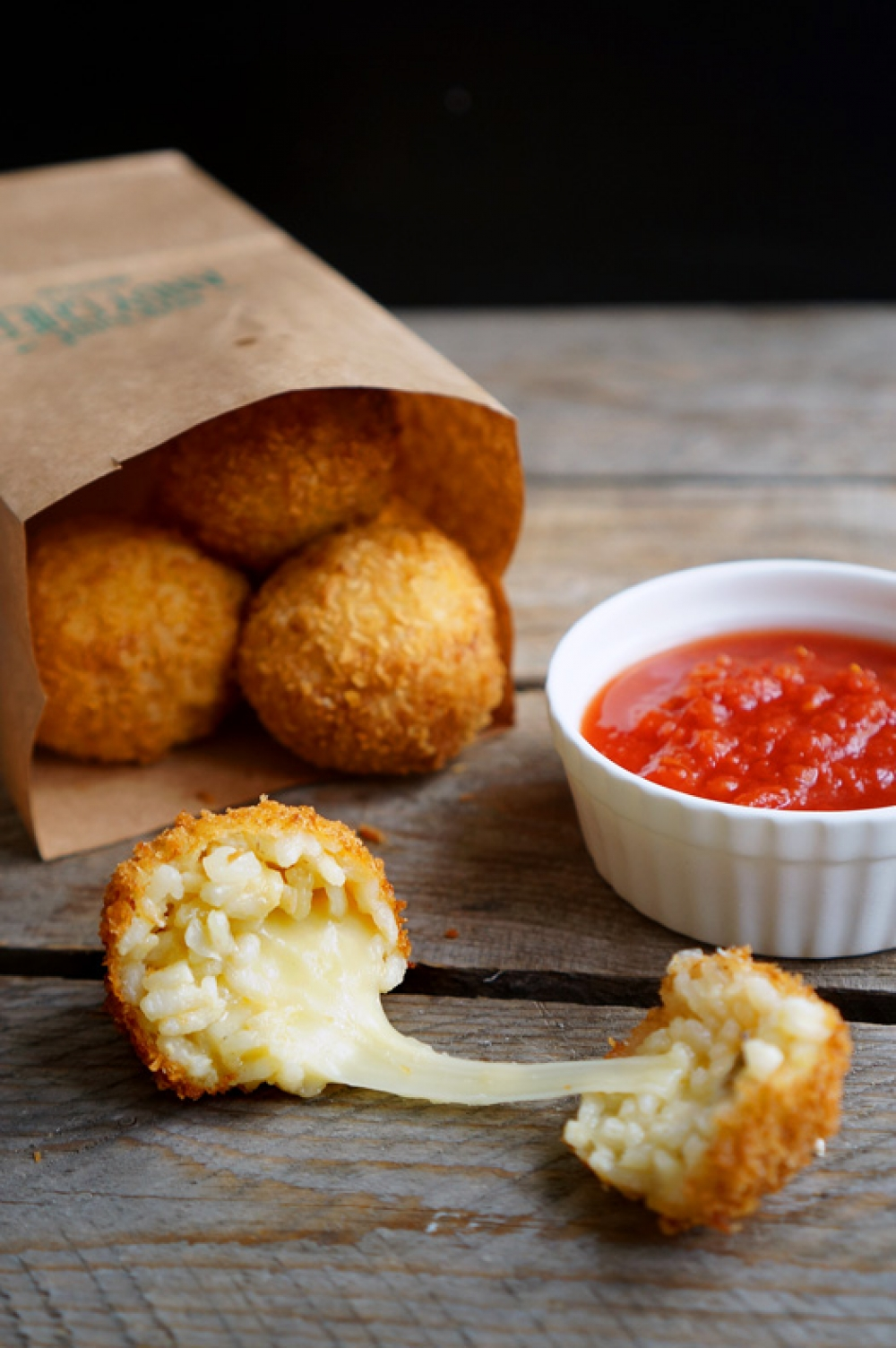 Arancini from risotto with cheese