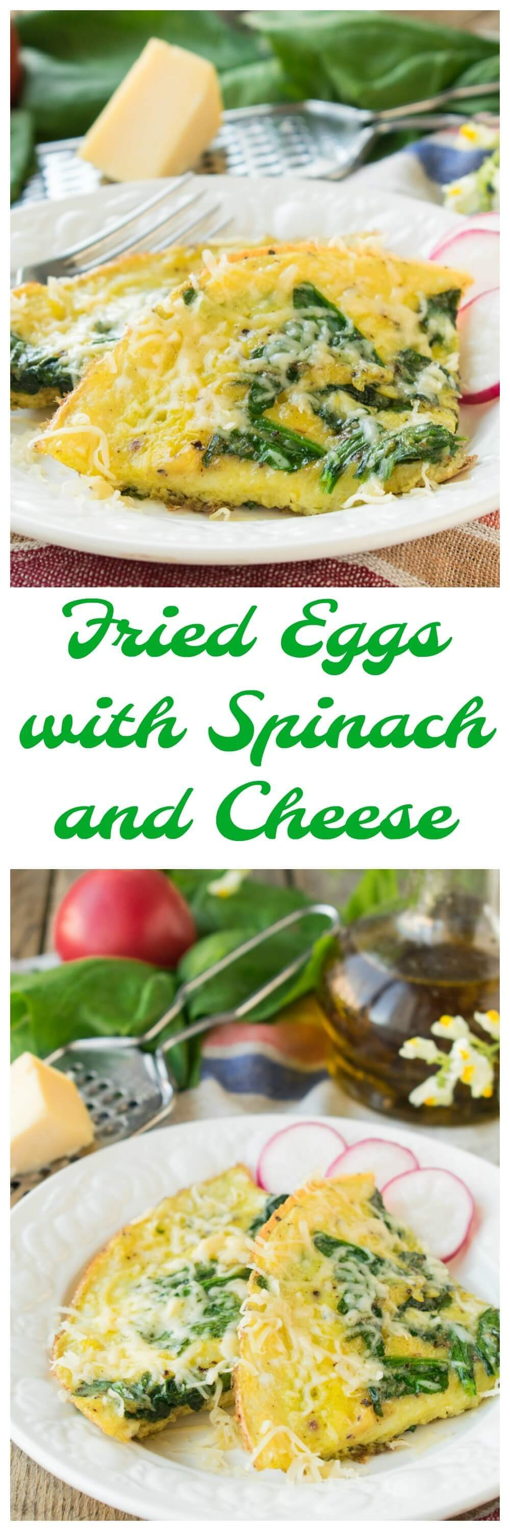 Fried Eggs with Spinach and Cheese