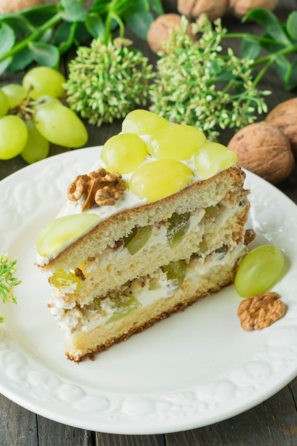 Yogurt Cream Cake with Green Grapes and Walnuts
