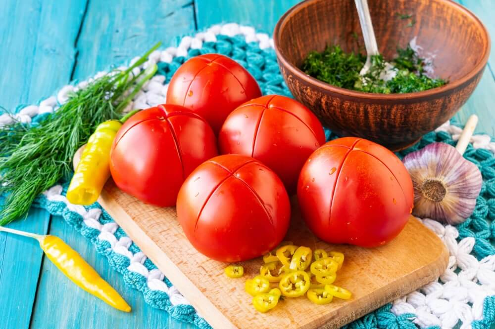 Russian Lightly Salted Tomatoes with Garlic and Herbs