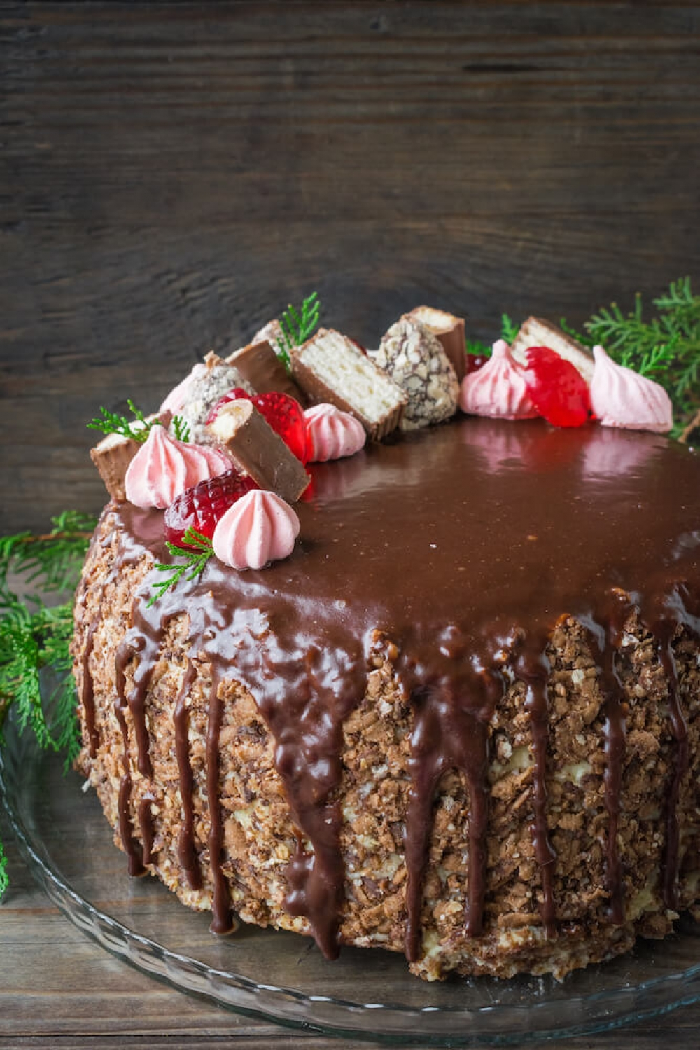 Chocolate Cherry Cake with Creamy Custard