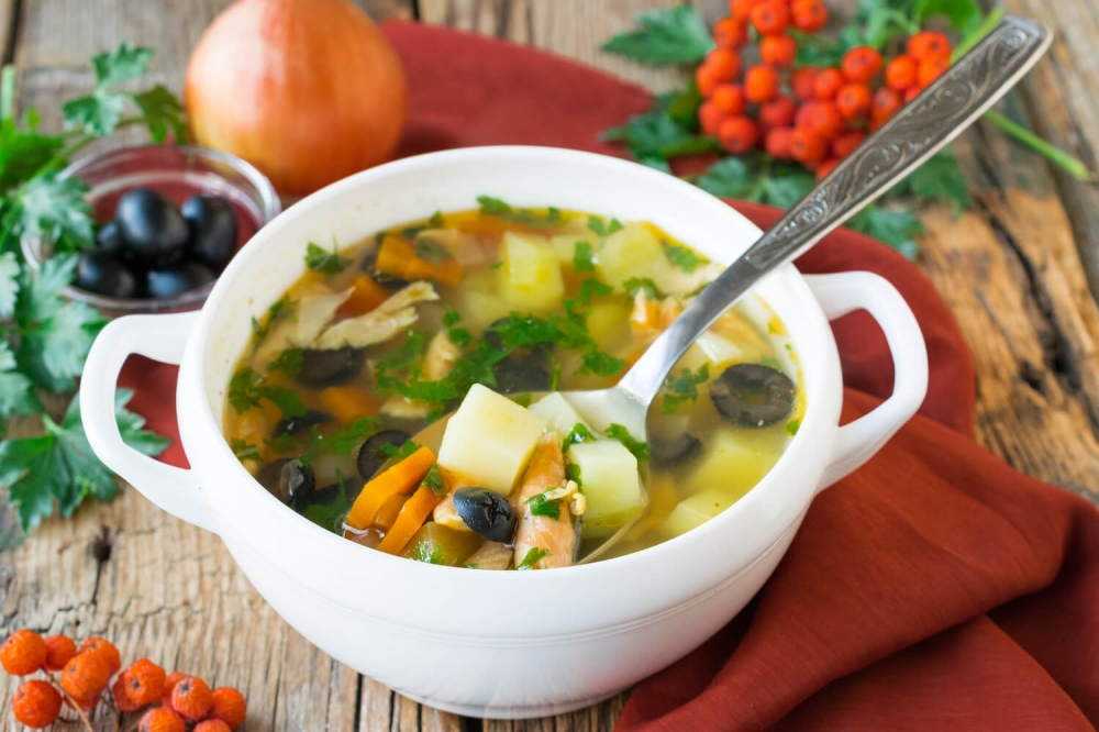 Italian Soup with Salmon and Olives