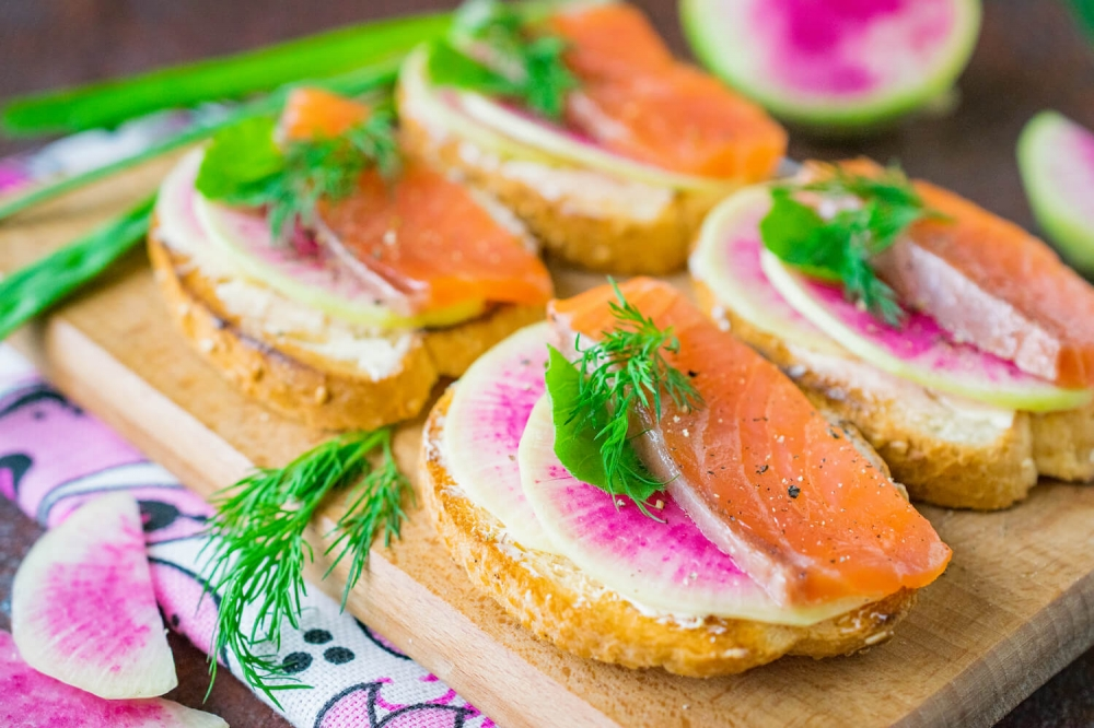 Watermelon Radish and Salmon Bruschetta