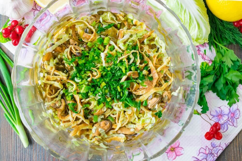 Napa Cabbage Salad with Marinated Mussels