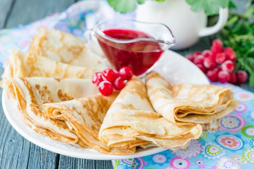 Russian Pancakes (Blini) on Fruit Yogurt