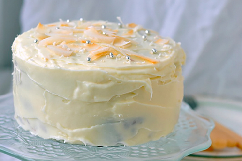 A carrot pie with cream cheese