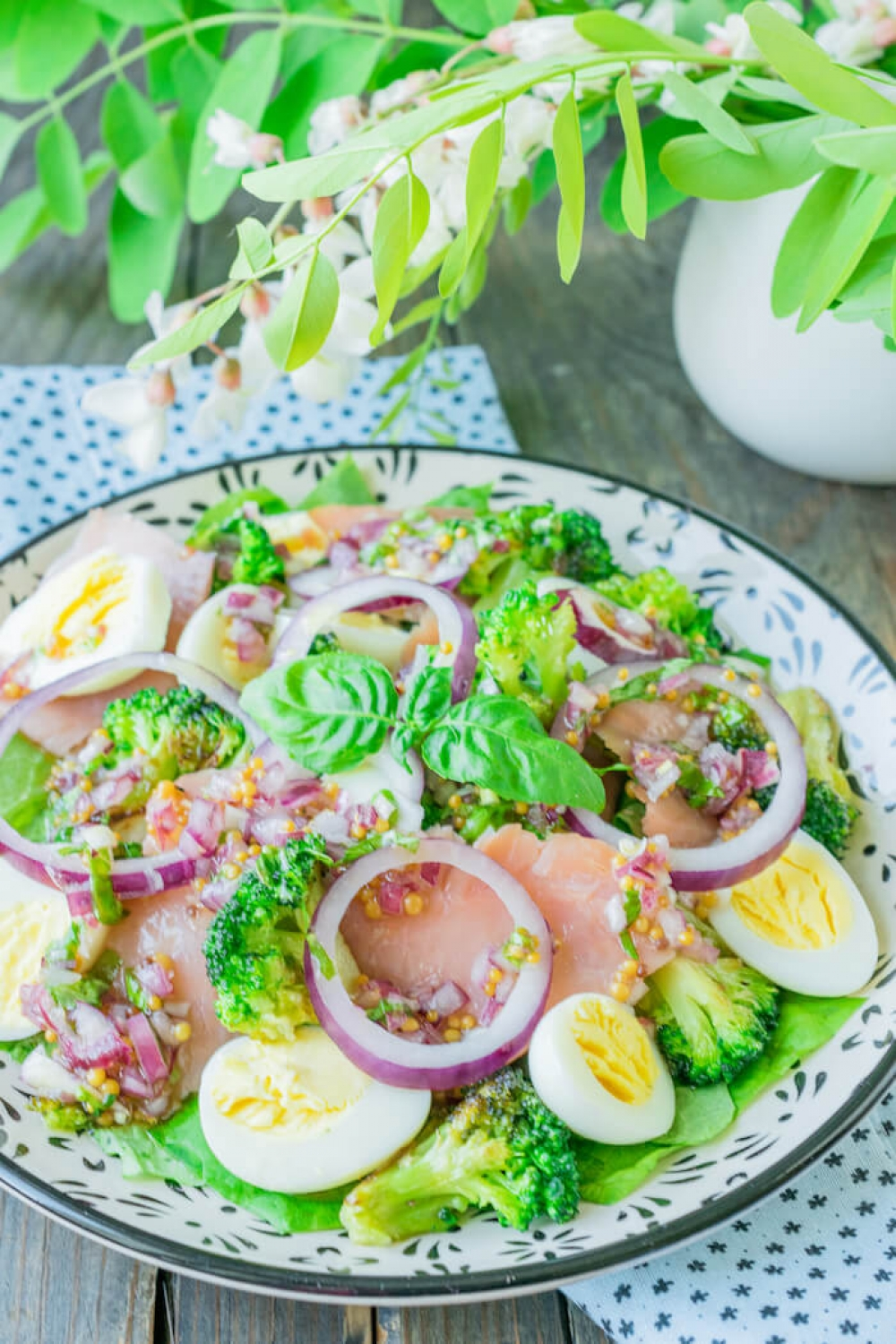 Smoked Pink Salmon Salad with Broccoli and Quail Eggs