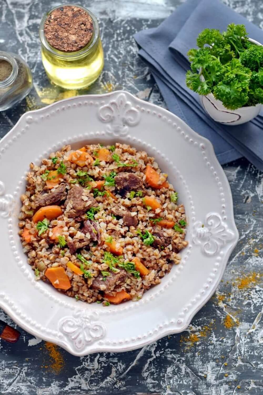 Russian Stewed Buckwheat with Beef