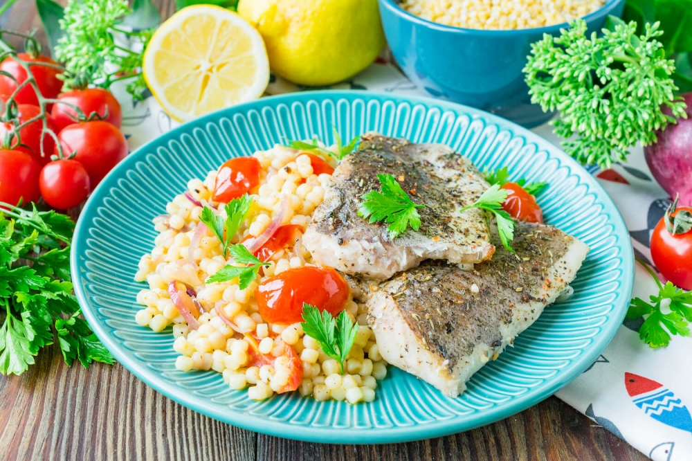 Baked Hake with Couscous and Vegetables