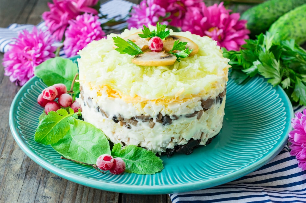 Chicken Salad with Prunes and Mushrooms (Venice Salad)