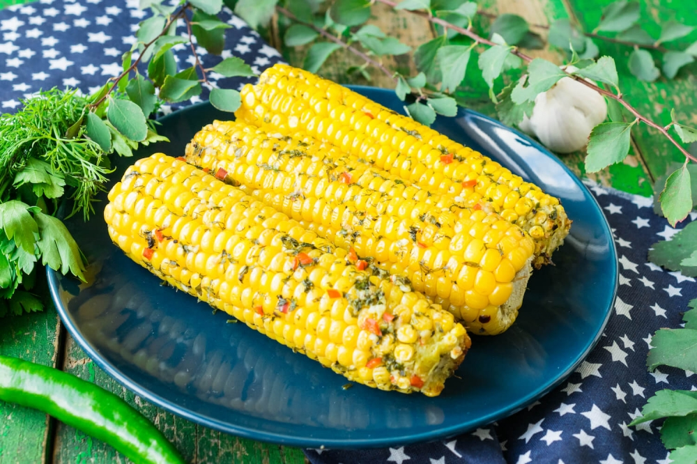Oven Roasted Corn with Spicy Butter
