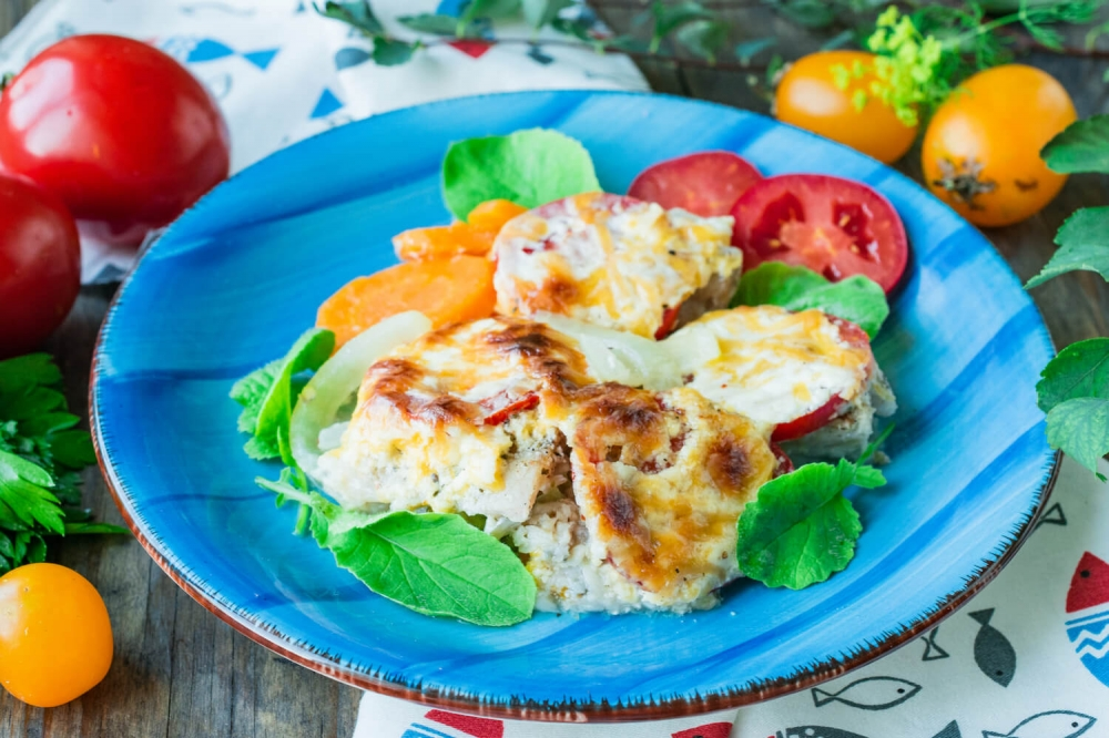 Hake with Vegetables and Cheese