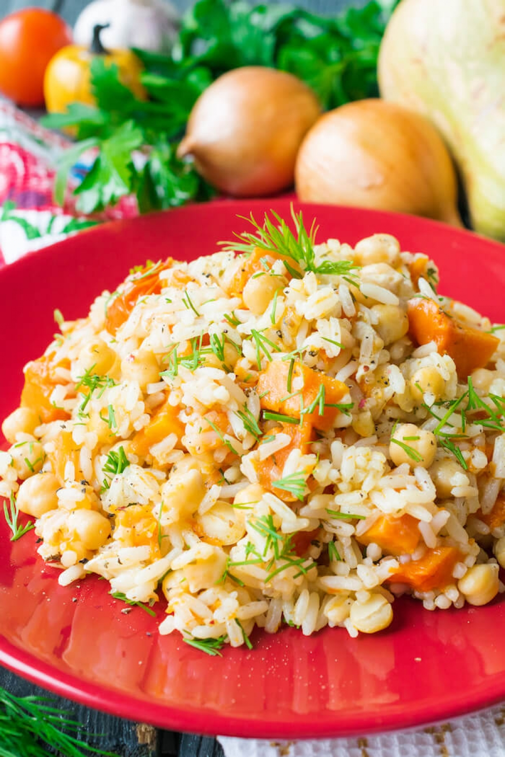 Chickpeas and Rice with Pumpkin and Tomatoes