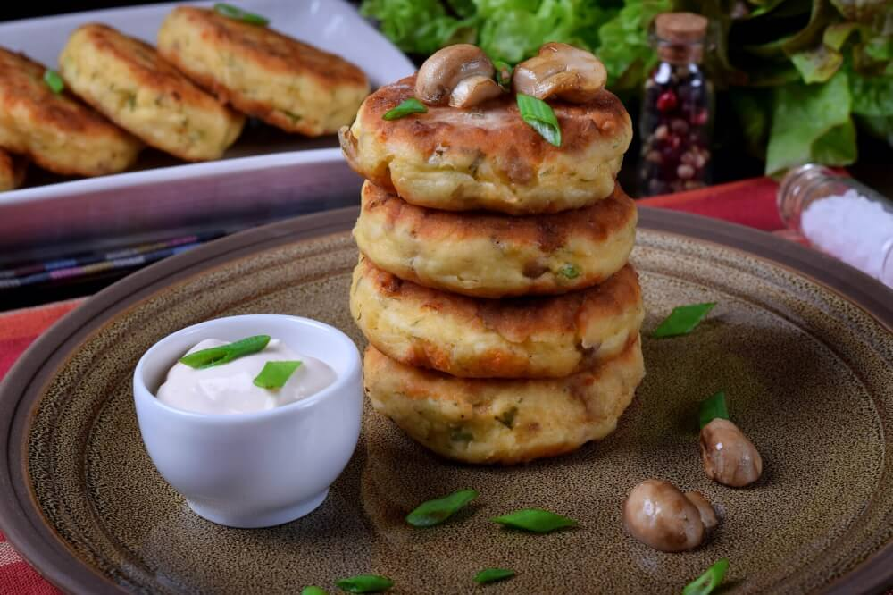 Cheese Pancakes with Mushrooms