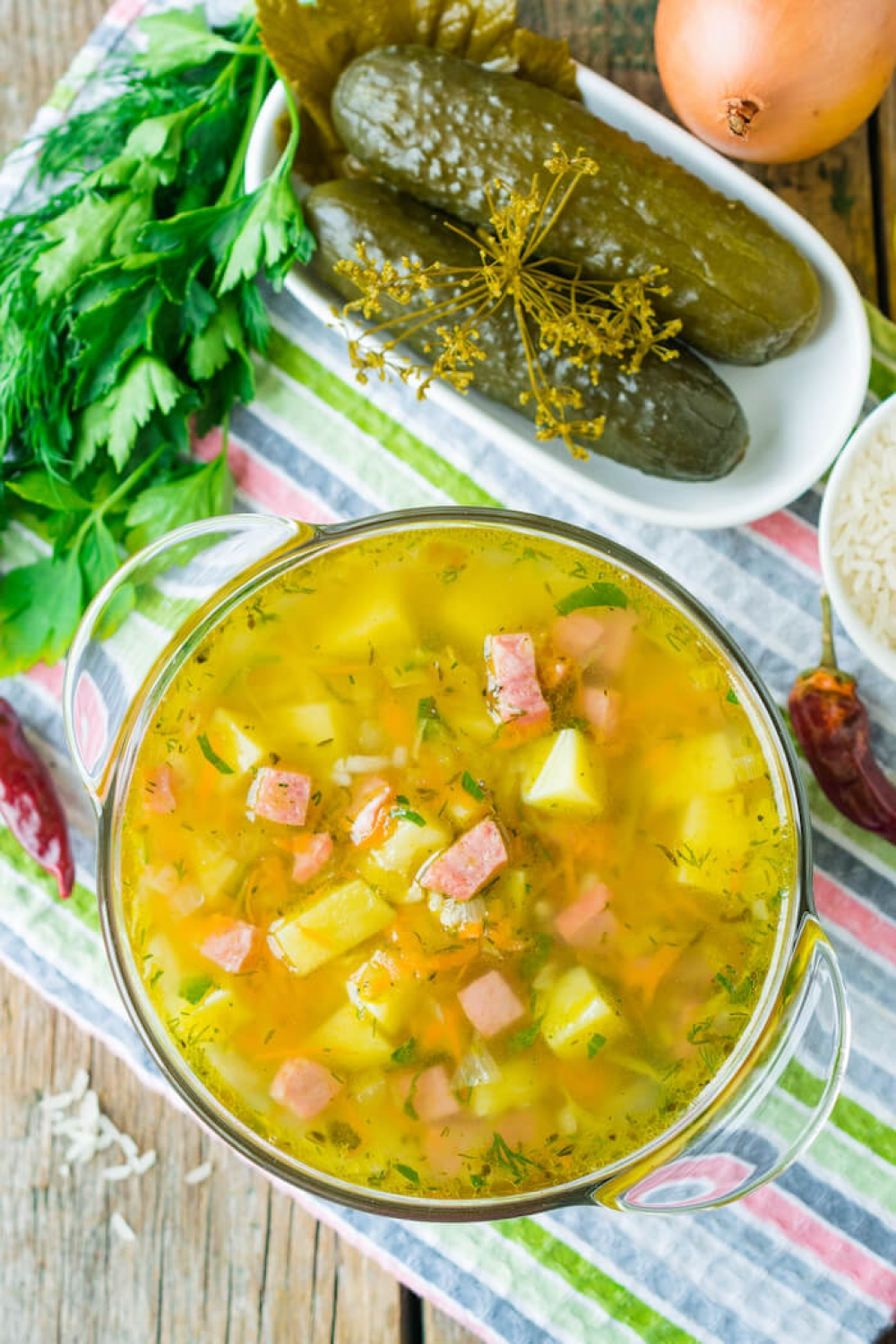 Smoked Sausage and Pickled Cucumbers Soup
